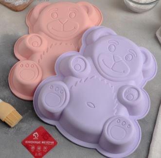 Форма для выпечки «Мишка», 27×23,5 см, цвет персиковый - фото 616180