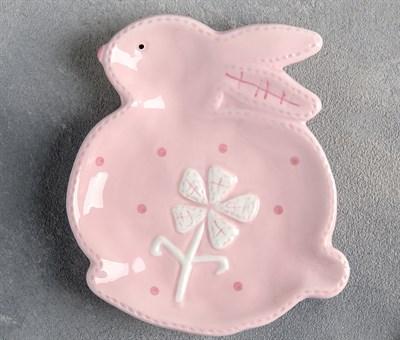 """Блюдо 15×12,5 см """"Пасхальный кролик"""", цвет розовый - фото 983312"""